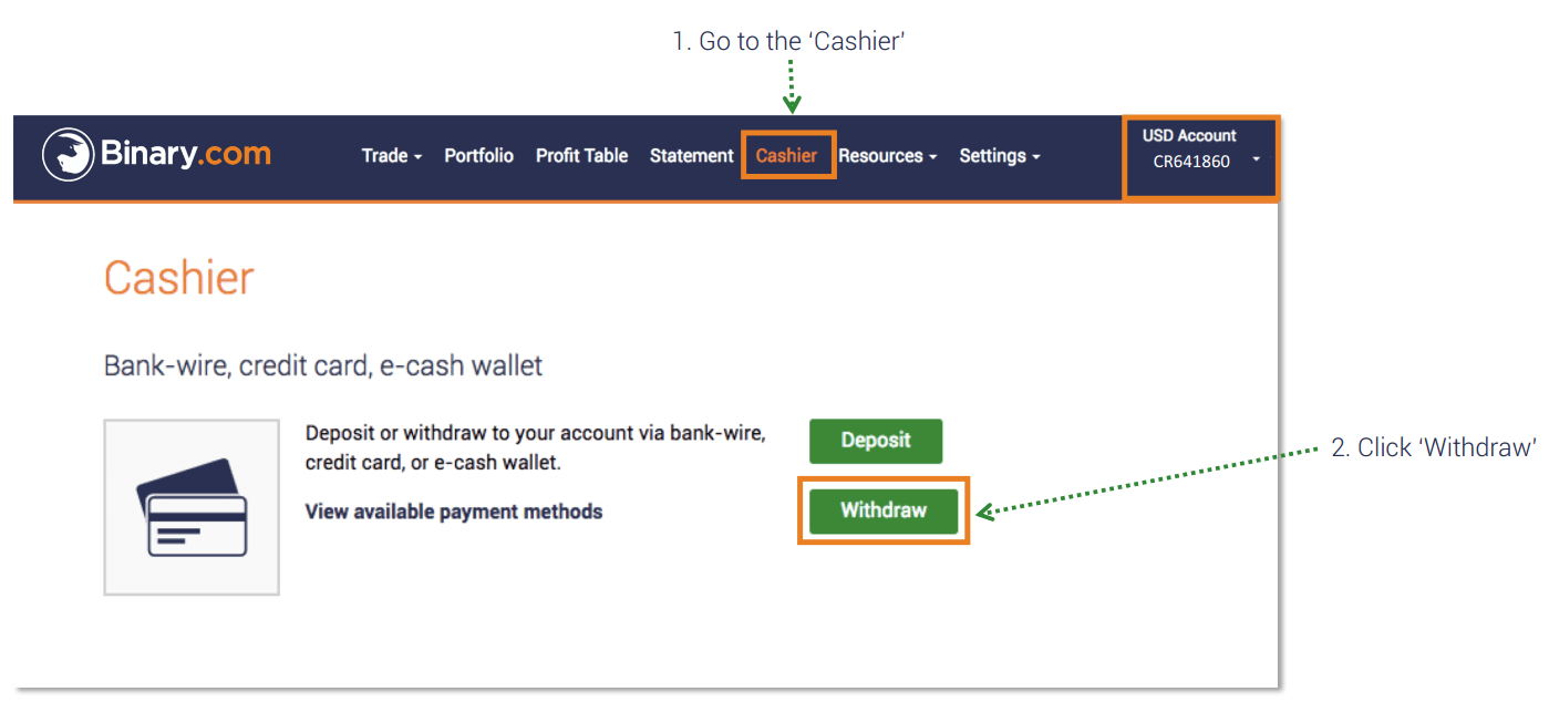 How to Withdraw and Make a Deposit Money in Binary.com