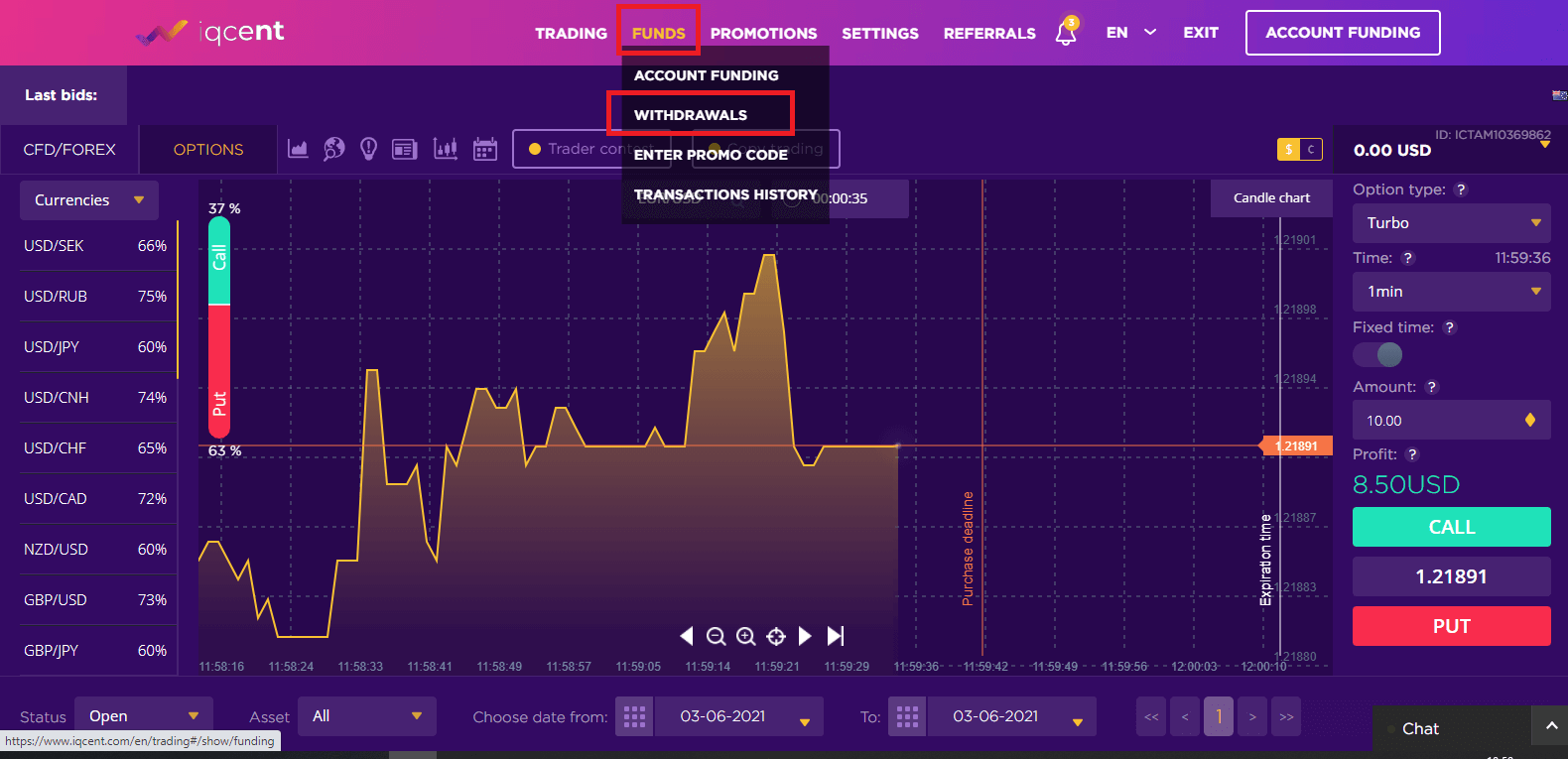 Frequently Asked Questions (FAQ) of Trading in IQcent